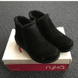 Ryka Faux Fur Wedge Ankle Boots 6.5